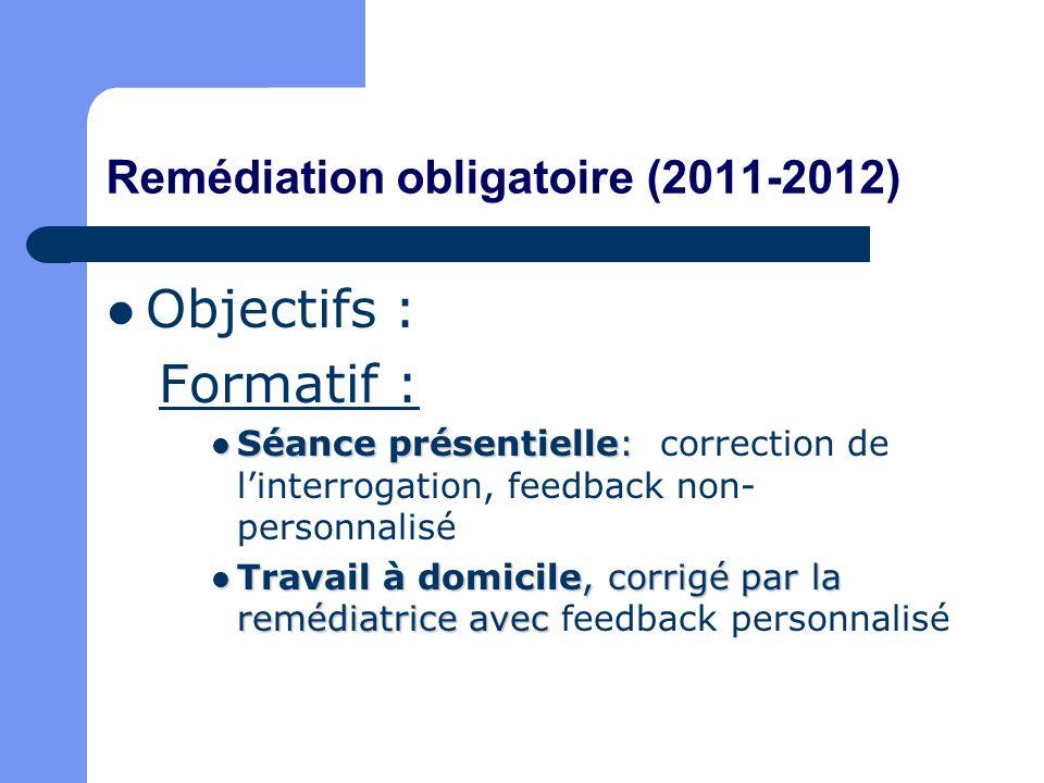 Remédiation obligatoire (2011-2012) Objectifs : Formatif : Séance présentielle: Séance présentielle: correction de linterrogation, feedback non- perso