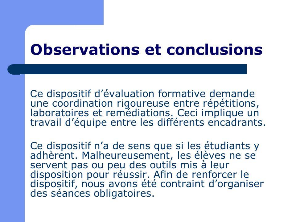 Observations et conclusions C e dispositif dévaluation formative demande une coordination rigoureuse entre répétitions, laboratoires et remédiations.