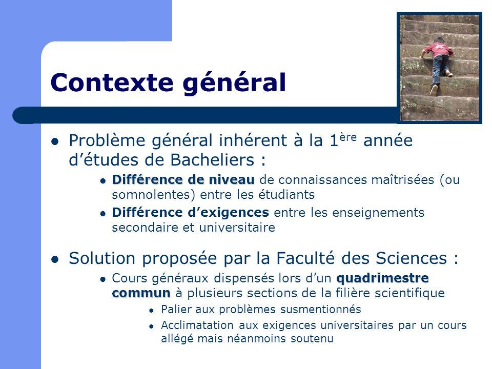 Contexte général Problème général inhérent à la 1 ère année détudes de Bacheliers : Différence de niveau Différence de niveau de connaissances maîtris