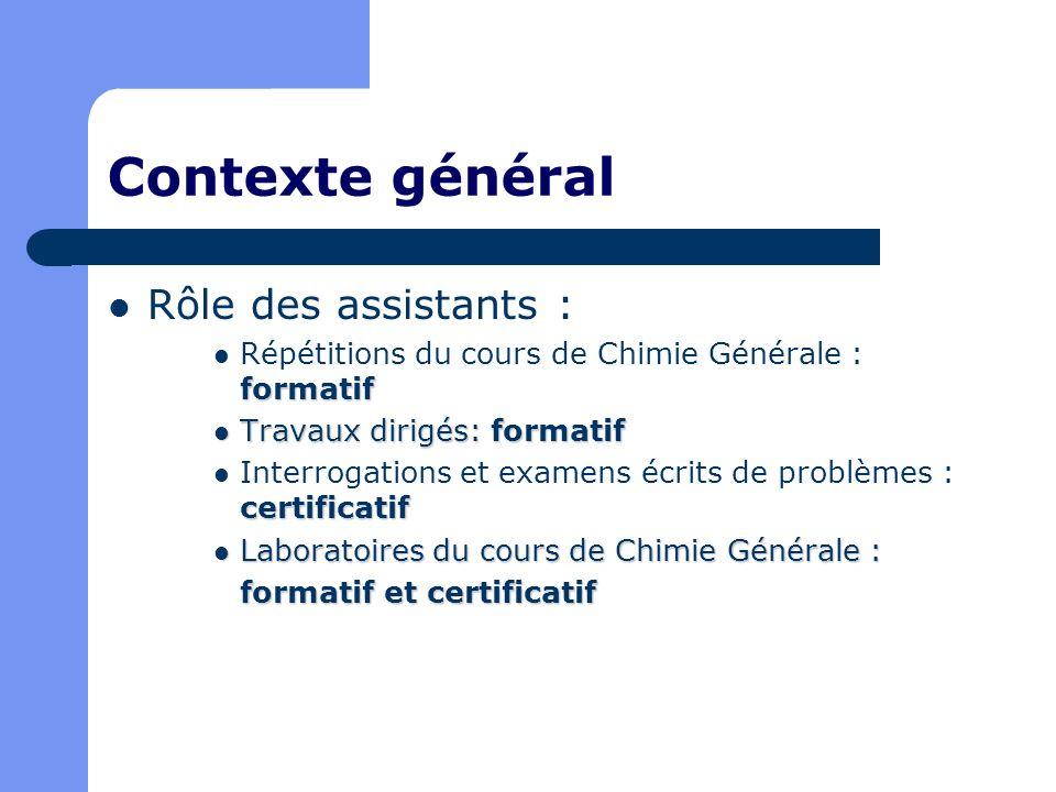 Contexte général Rôle des assistants : formatif Répétitions du cours de Chimie Générale : formatif Travaux dirigés: formatif Travaux dirigés: formatif