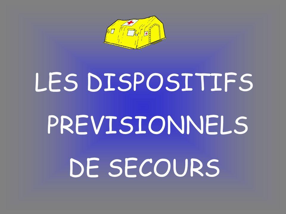 Dispositif Prévisionnel de Secours (DPS-GE) 4 postes ou plus (+ de 36 intervenants) Dans le DPS-GE on affecte un chef de dispositif et 1 chef de secteur pour 1 à 3 postes de secours et 2 LAT (logisticiens administratifs et techniques) par secteur Chaque poste est rattaché à un secteur