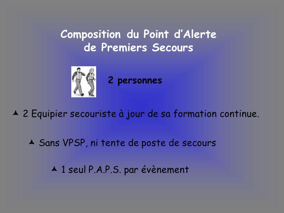 Composition du Point dAlerte de Premiers Secours 2 personnes 2 Equipier secouriste à jour de sa formation continue. Sans VPSP, ni tente de poste de se