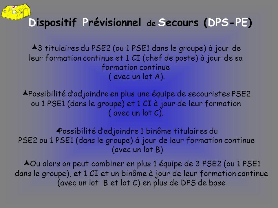 Dispositif Prévisionnel de Secours (DPS-PE) 3 titulaires du PSE2 (ou 1 PSE1 dans le groupe) à jour de leur formation continue et 1 CI (chef de poste)