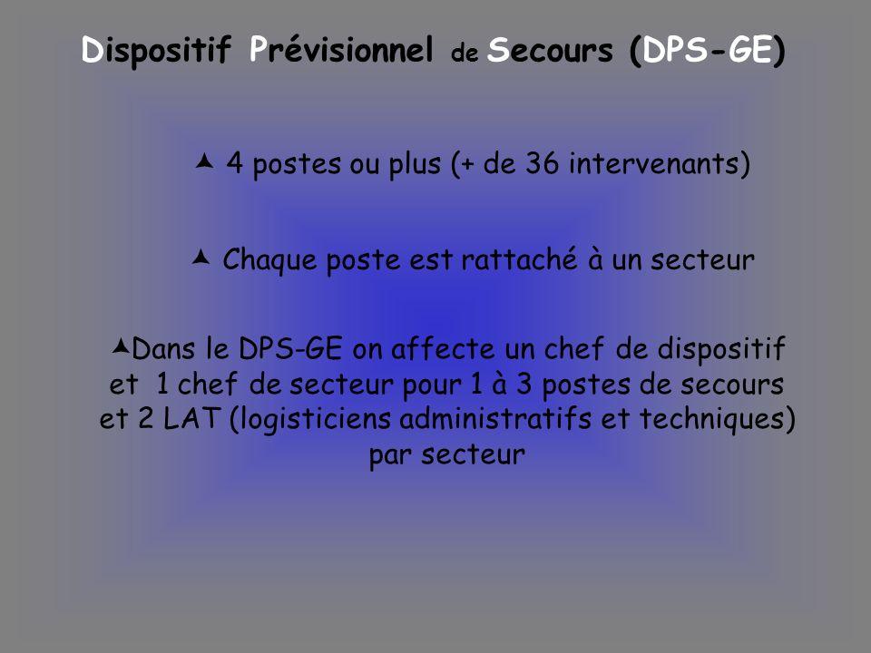 Dispositif Prévisionnel de Secours (DPS-GE) 4 postes ou plus (+ de 36 intervenants) Dans le DPS-GE on affecte un chef de dispositif et 1 chef de secte