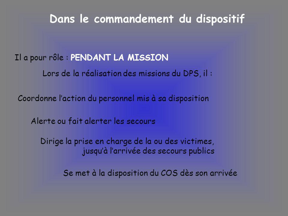 Dans le commandement du dispositif Il a pour rôle : PENDANT LA MISSION Lors de la réalisation des missions du DPS, il : Coordonne laction du personnel