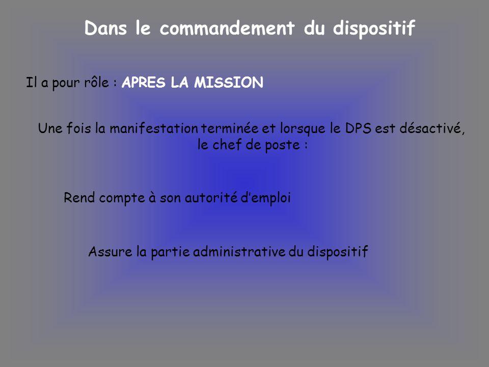 Dans le commandement du dispositif Il a pour rôle : APRES LA MISSION Une fois la manifestation terminée et lorsque le DPS est désactivé, le chef de po