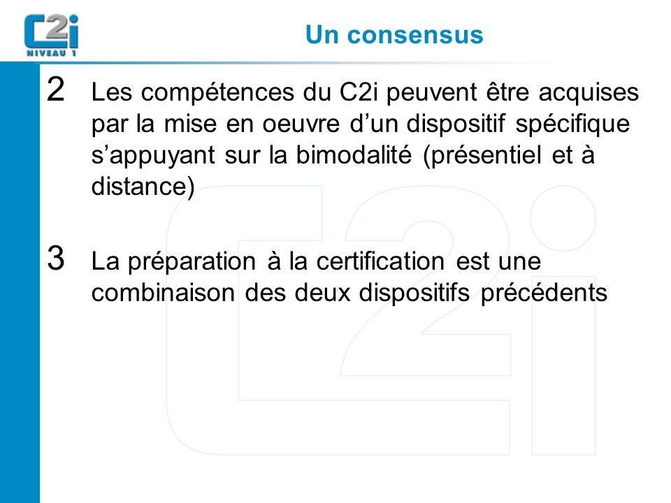 Un consensus 2 Les compétences du C2i peuvent être acquises par la mise en oeuvre dun dispositif spécifique sappuyant sur la bimodalité (présentiel et à distance) 3 La préparation à la certification est une combinaison des deux dispositifs précédents
