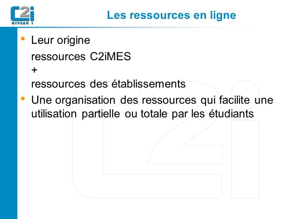 Les ressources en ligne Leur origine ressources C2iMES + ressources des établissements Une organisation des ressources qui facilite une utilisation partielle ou totale par les étudiants