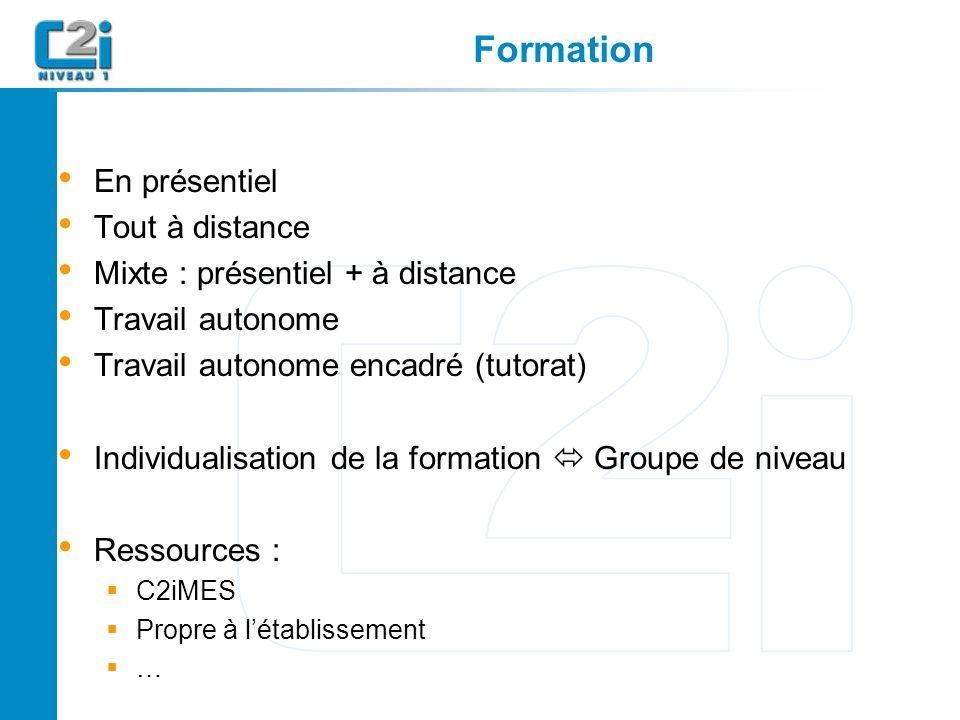 Formation En présentiel Tout à distance Mixte : présentiel + à distance Travail autonome Travail autonome encadré (tutorat) Individualisation de la formation Groupe de niveau Ressources : C2iMES Propre à létablissement …