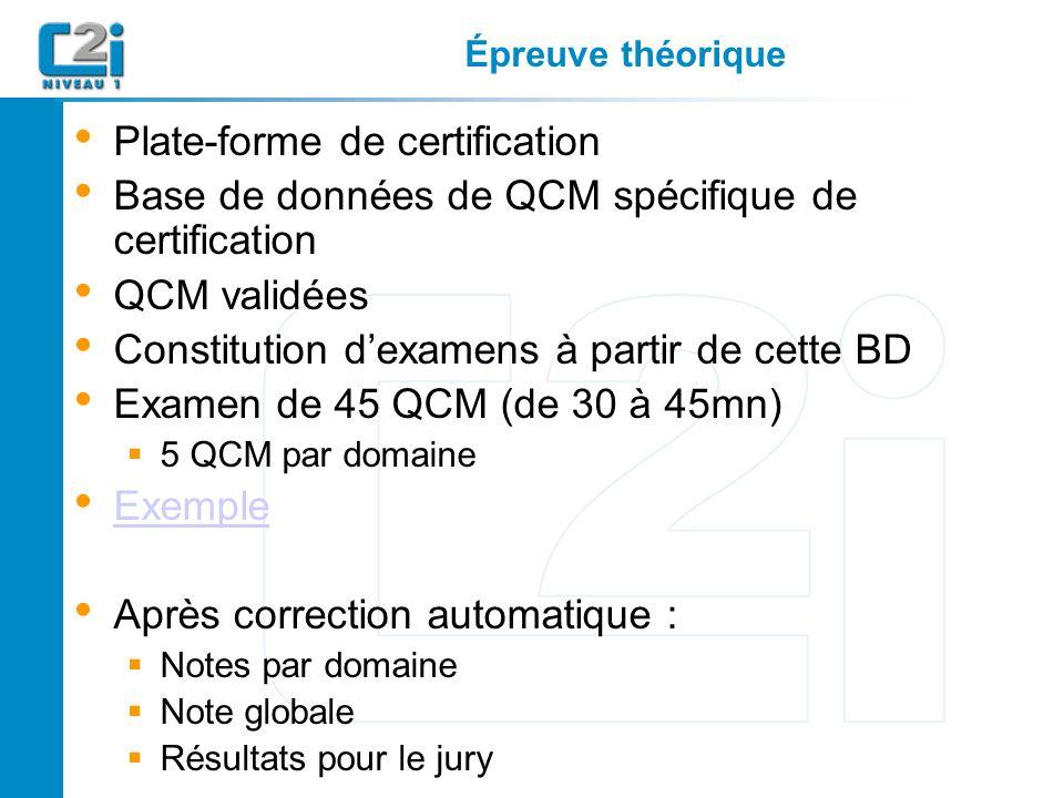 Épreuve théorique Plate-forme de certification Base de données de QCM spécifique de certification QCM validées Constitution dexamens à partir de cette BD Examen de 45 QCM (de 30 à 45mn) 5 QCM par domaine Exemple Après correction automatique : Notes par domaine Note globale Résultats pour le jury