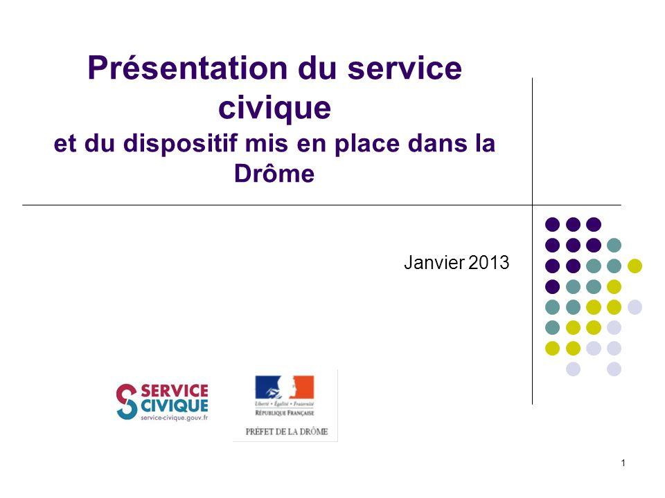1 Présentation du service civique et du dispositif mis en place dans la Drôme Janvier 2013