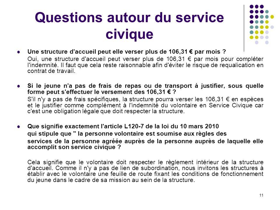 11 Questions autour du service civique Une structure d accueil peut elle verser plus de 106,31 par mois .