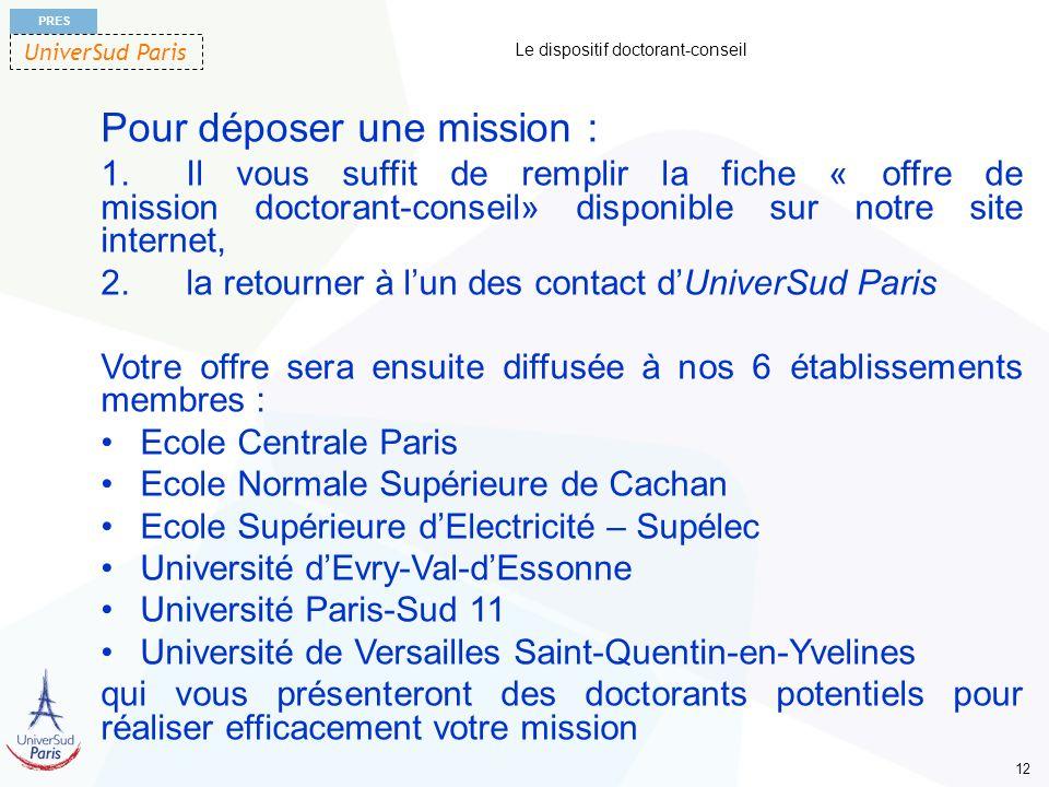 UniverSud Paris PRES 12 Le dispositif doctorant-conseil Pour déposer une mission : 1.Il vous suffit de remplir la fiche « offre de mission doctorant-c