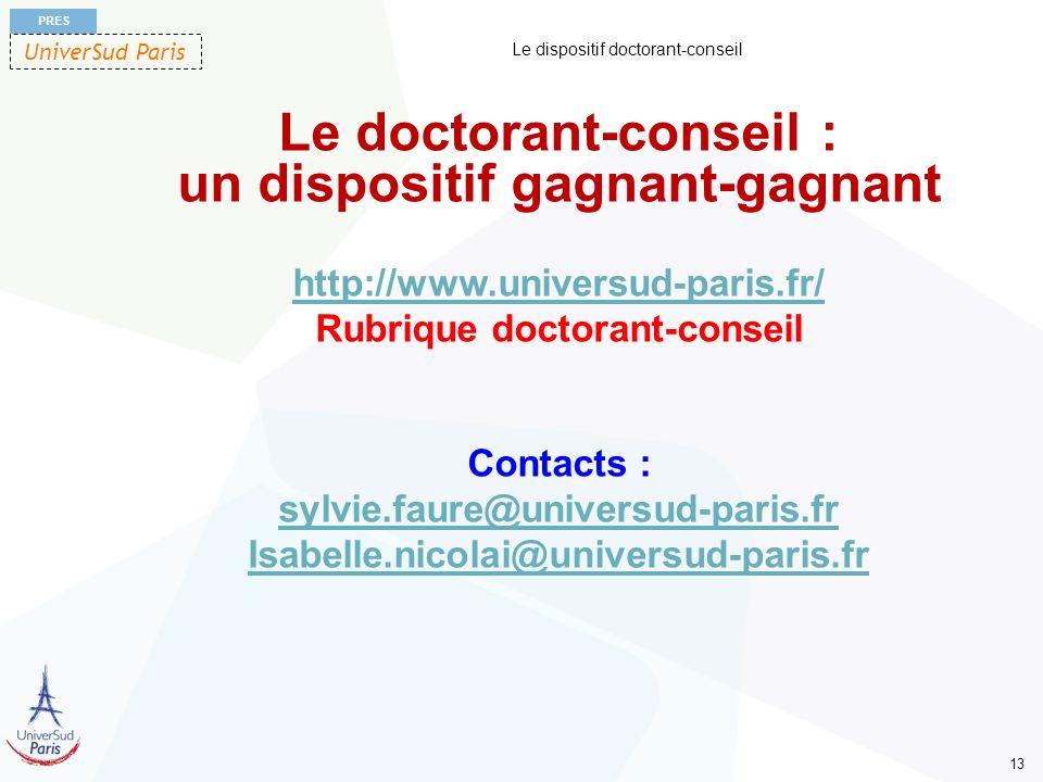 UniverSud Paris PRES 13 Le dispositif doctorant-conseil Le doctorant-conseil : un dispositif gagnant-gagnant http://www.universud-paris.fr/ Rubrique d