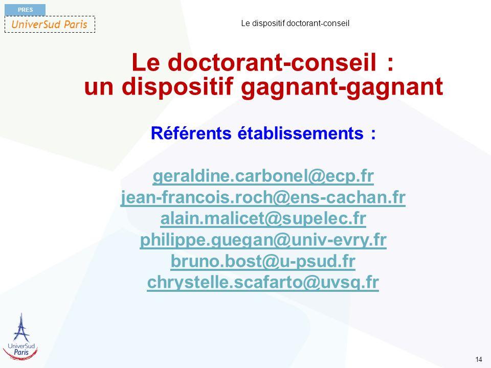 UniverSud Paris PRES 14 Le dispositif doctorant-conseil Le doctorant-conseil : un dispositif gagnant-gagnant Référents établissements : geraldine.carb
