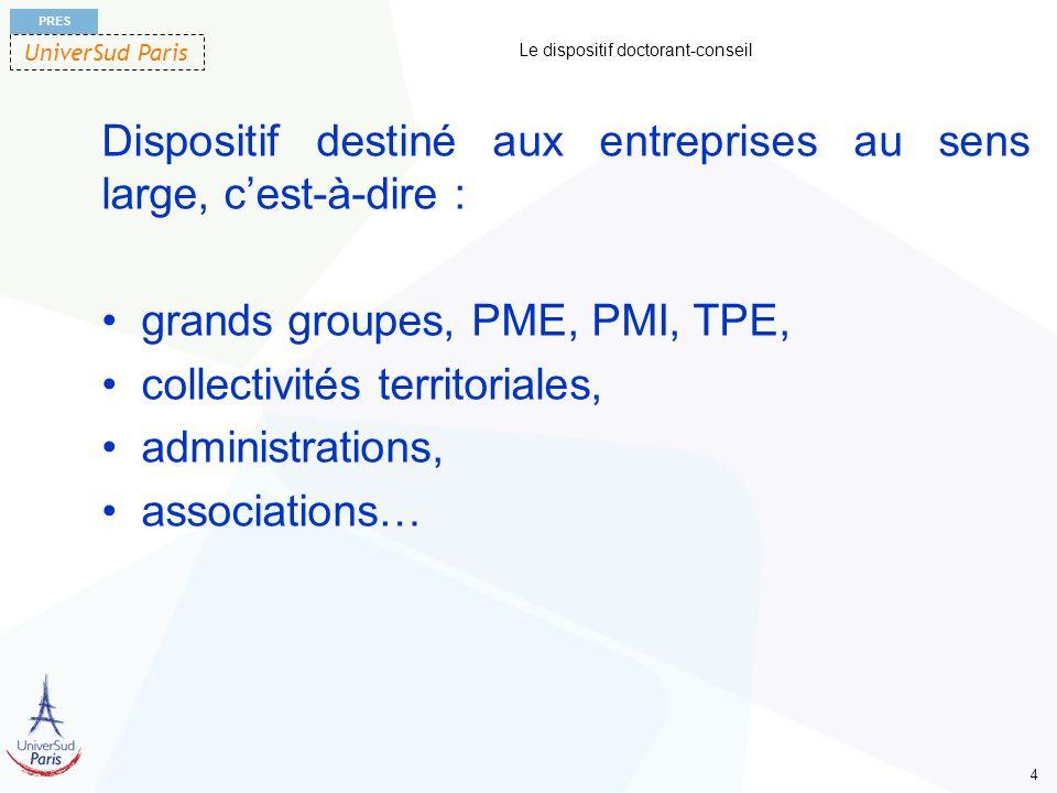 UniverSud Paris PRES 4 Le dispositif doctorant-conseil Dispositif destiné aux entreprises au sens large, cest-à-dire : grands groupes, PME, PMI, TPE,