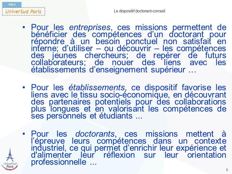 UniverSud Paris PRES 5 Le dispositif doctorant-conseil Pour les entreprises, ces missions permettent de bénéficier des compétences dun doctorant pour