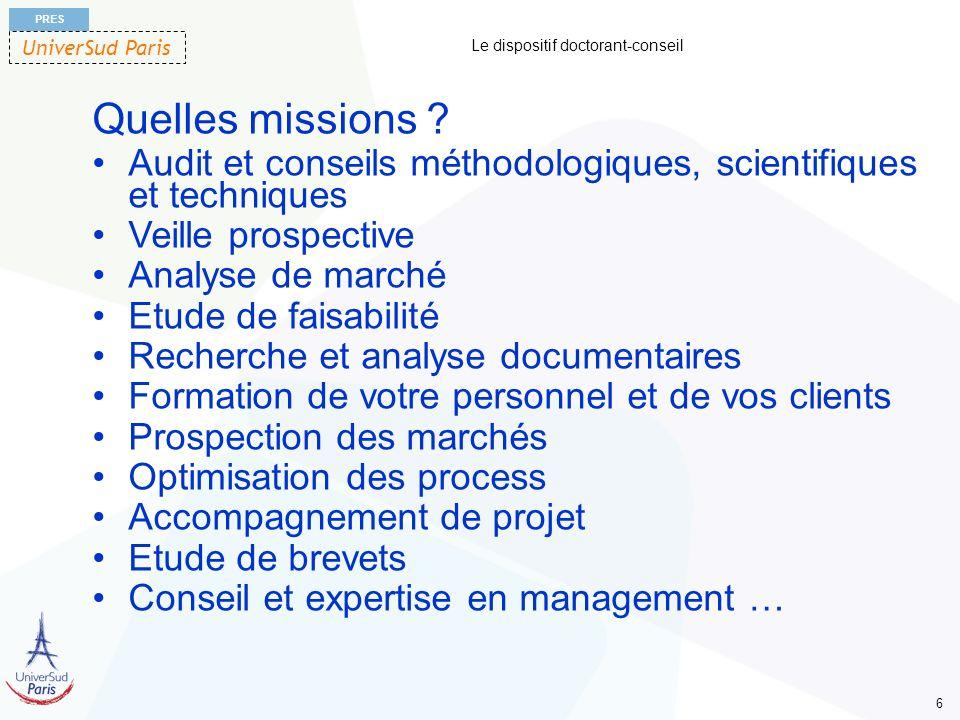 UniverSud Paris PRES 6 Le dispositif doctorant-conseil Quelles missions ? Audit et conseils méthodologiques, scientifiques et techniques Veille prospe