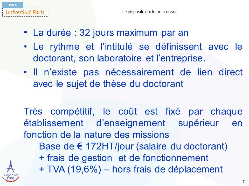 UniverSud Paris PRES 7 Le dispositif doctorant-conseil La durée : 32 jours maximum par an Le rythme et lintitulé se définissent avec le doctorant, son