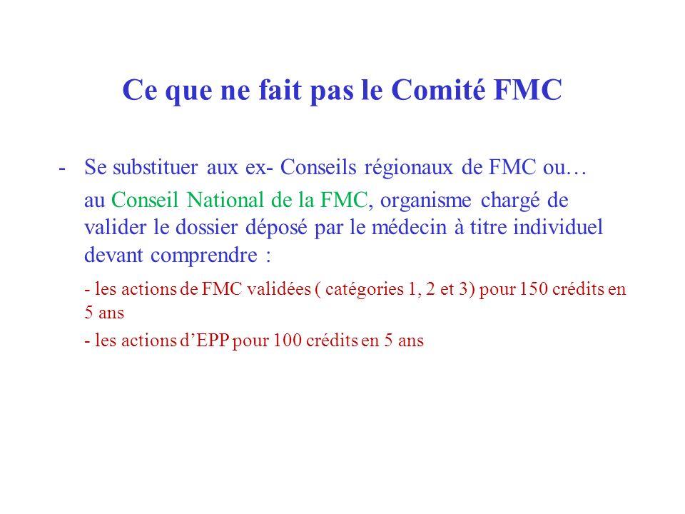 Ce que ne fait pas le Comité FMC -Se substituer aux ex- Conseils régionaux de FMC ou… au Conseil National de la FMC, organisme chargé de valider le do