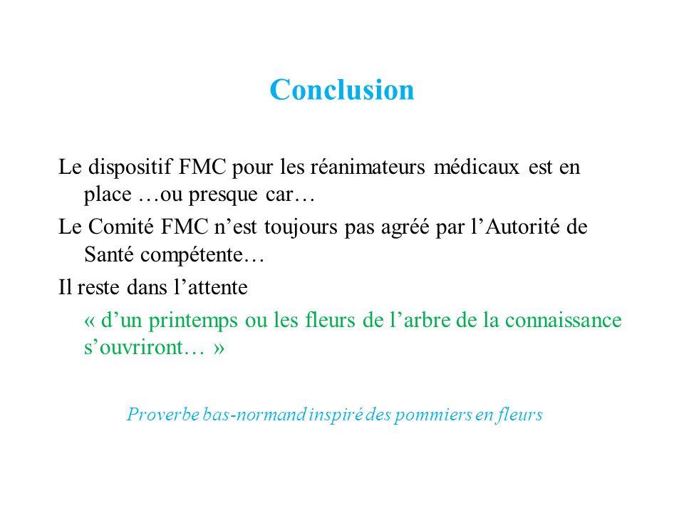 Conclusion Le dispositif FMC pour les réanimateurs médicaux est en place …ou presque car… Le Comité FMC nest toujours pas agréé par lAutorité de Santé