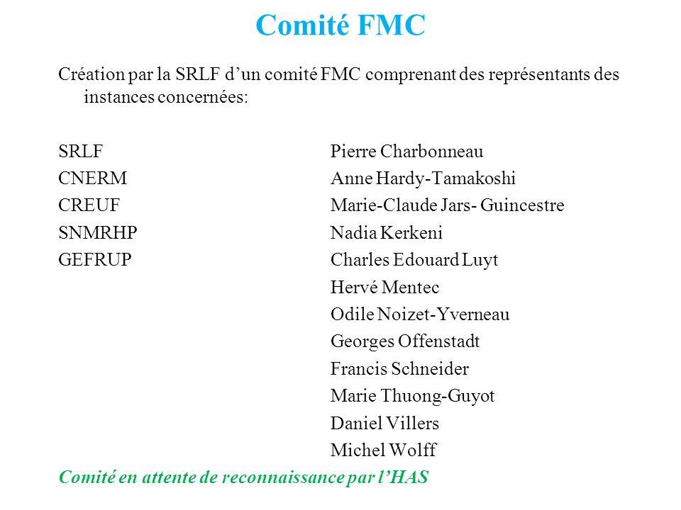 Comité FMC Création par la SRLF dun comité FMC comprenant des représentants des instances concernées: SRLFPierre Charbonneau CNERMAnne Hardy-Tamakoshi