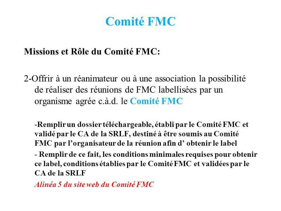 Comité FMC Missions et Rôle du Comité FMC: 3-Déterminer les besoins de FMC en Réanimation Réalisation dune enquête nationale à partir dun questionnaire établi en collaboration avec la Commission Scientifique de la SRLF Puis au vu des résultats, en déduire des actions de FMC: Au sein du congrès Au cours de séminaires spécifiques