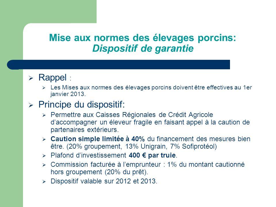 Mise aux normes des élevages porcins: Dispositif de garantie Limites de lengagement des garants et de la caution concernée.
