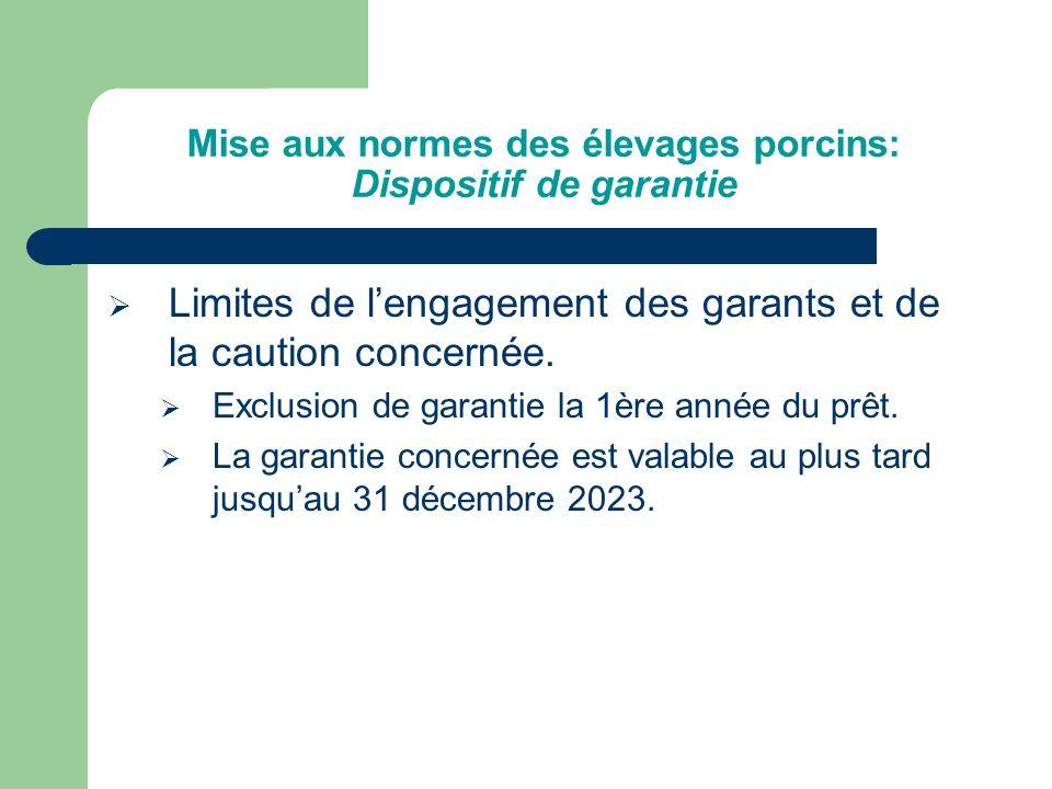 Mise aux normes des élevages porcins: Dispositif de garantie Modalités pratique de mise en œuvre du dispositif de garantie.