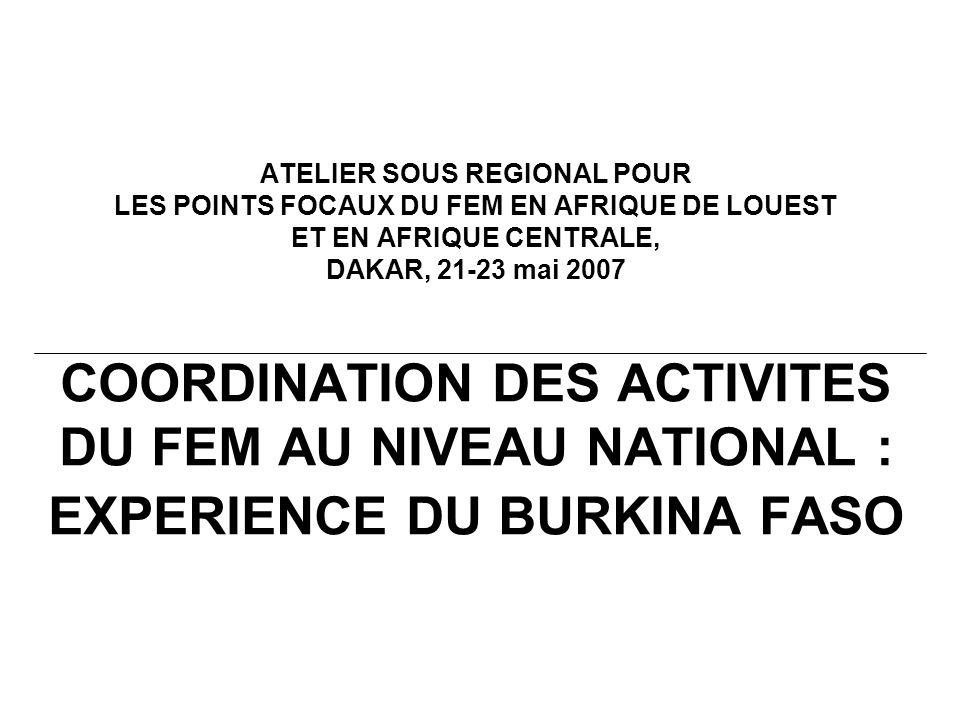 ATELIER SOUS REGIONAL POUR LES POINTS FOCAUX DU FEM EN AFRIQUE DE LOUEST ET EN AFRIQUE CENTRALE, DAKAR, 21-23 mai 2007 COORDINATION DES ACTIVITES DU FEM AU NIVEAU NATIONAL : EXPERIENCE DU BURKINA FASO