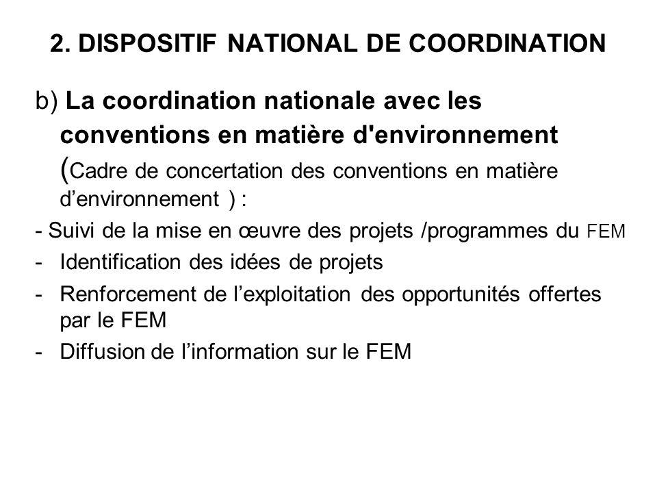 2. DISPOSITIF NATIONAL DE COORDINATION b) La coordination nationale avec les conventions en matière d'environnement ( Cadre de concertation des conven
