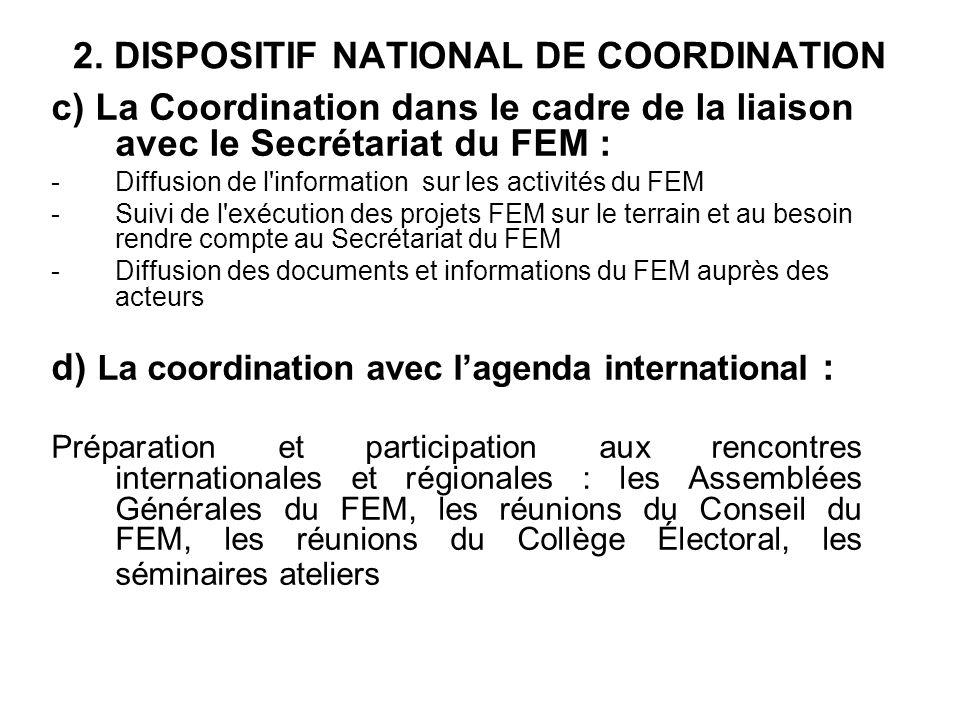 2. DISPOSITIF NATIONAL DE COORDINATION c) La Coordination dans le cadre de la liaison avec le Secrétariat du FEM : -Diffusion de l'information sur les
