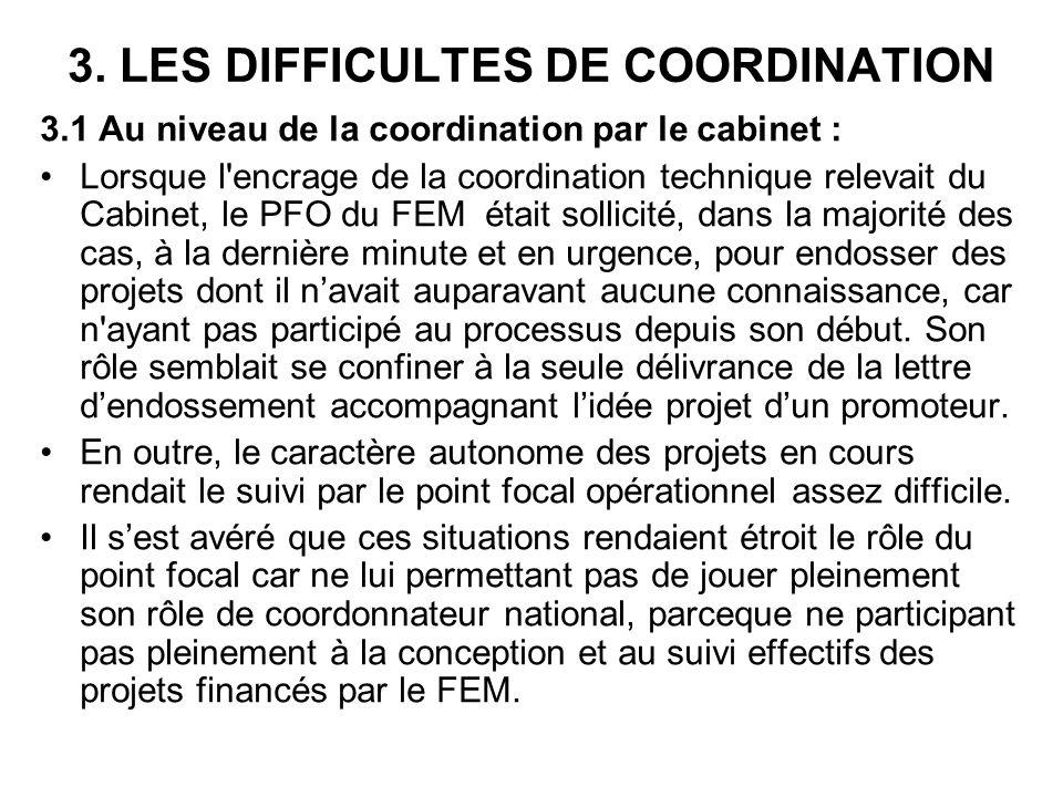 3. LES DIFFICULTES DE COORDINATION 3.1 Au niveau de la coordination par le cabinet : Lorsque l'encrage de la coordination technique relevait du Cabine