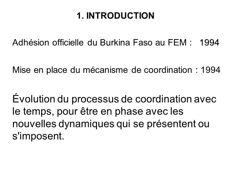 1. INTRODUCTION 1994 Adhésion officielle du Burkina Faso au FEM : 1994 Mise en place du mécanisme de coordination : 1994 Évolution du processus de coo