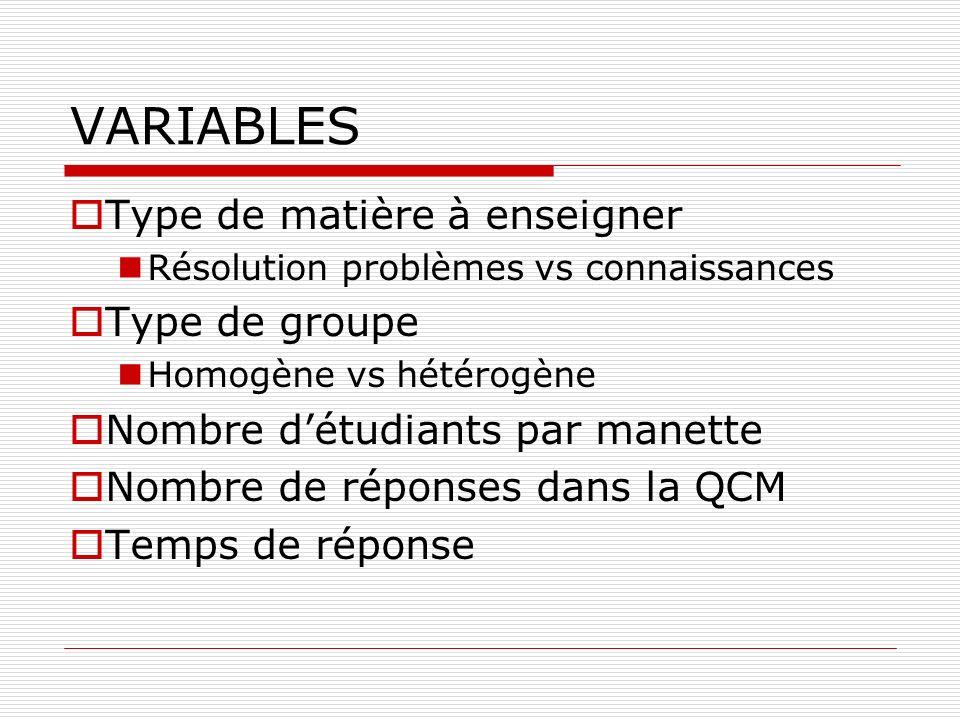 VARIABLES Type de matière à enseigner Résolution problèmes vs connaissances Type de groupe Homogène vs hétérogène Nombre détudiants par manette Nombre de réponses dans la QCM Temps de réponse