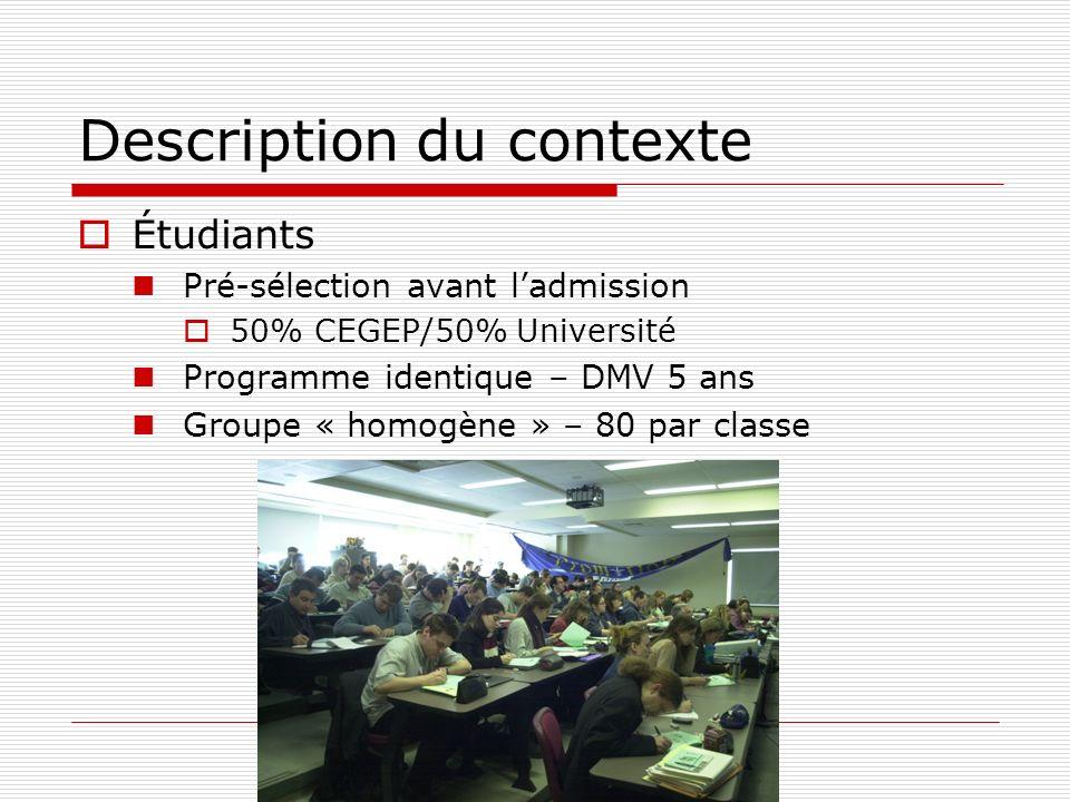 Description du contexte Étudiants Pré-sélection avant ladmission 50% CEGEP/50% Université Programme identique – DMV 5 ans Groupe « homogène » – 80 par classe