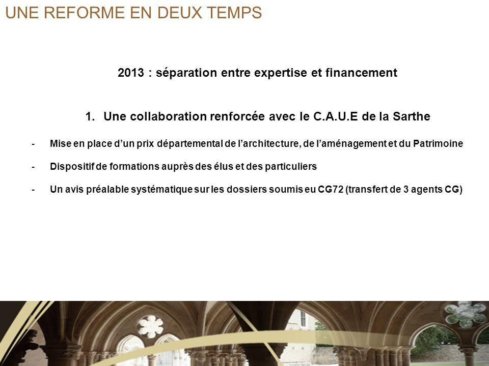 2013 : séparation entre expertise et financement 2.