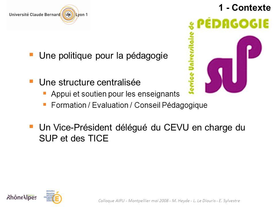 1 - Contexte Une politique pour la pédagogie Une structure centralisée Appui et soutien pour les enseignants Formation / Evaluation / Conseil Pédagogi