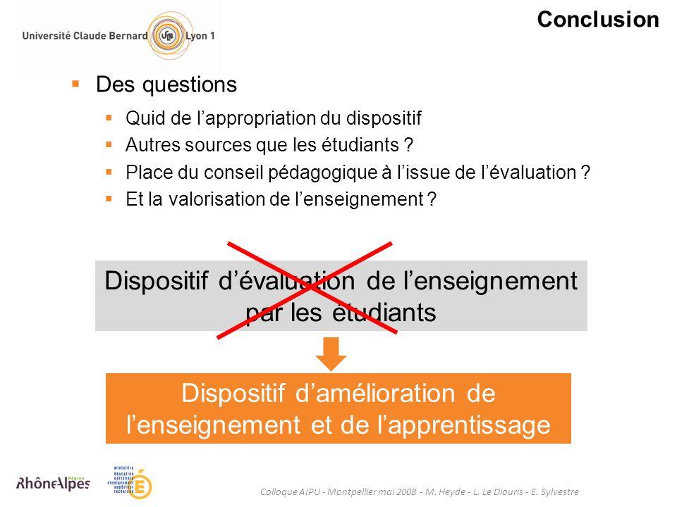Conclusion Colloque AIPU - Montpellier mai 2008 - M. Heyde - L. Le Diouris - E. Sylvestre Des questions Quid de lappropriation du dispositif Autres so