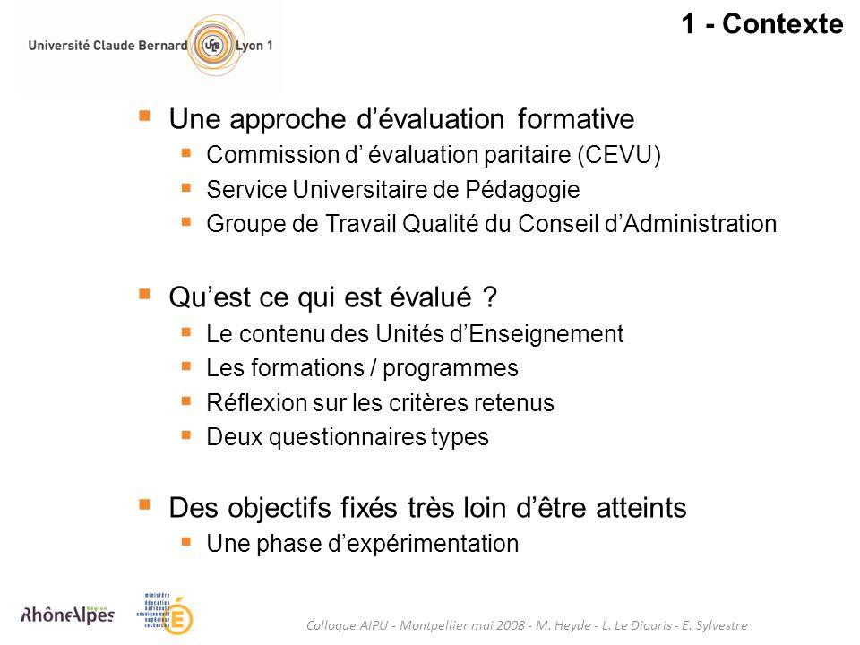 1 - Contexte Une approche dévaluation formative Commission d évaluation paritaire (CEVU) Service Universitaire de Pédagogie Groupe de Travail Qualité
