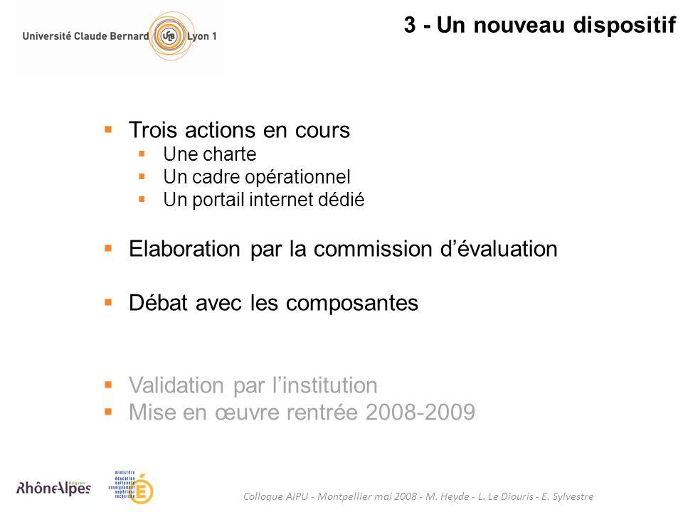3 - Un nouveau dispositif Colloque AIPU - Montpellier mai 2008 - M. Heyde - L. Le Diouris - E. Sylvestre Trois actions en cours Une charte Un cadre op