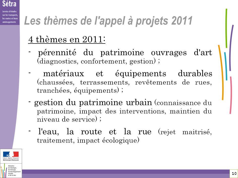 10 10 Les thèmes de l'appel à projets 2011 4 thèmes en 2011: - pérennité du patrimoine ouvrages d'art (diagnostics, confortement, gestion) ; - matéria
