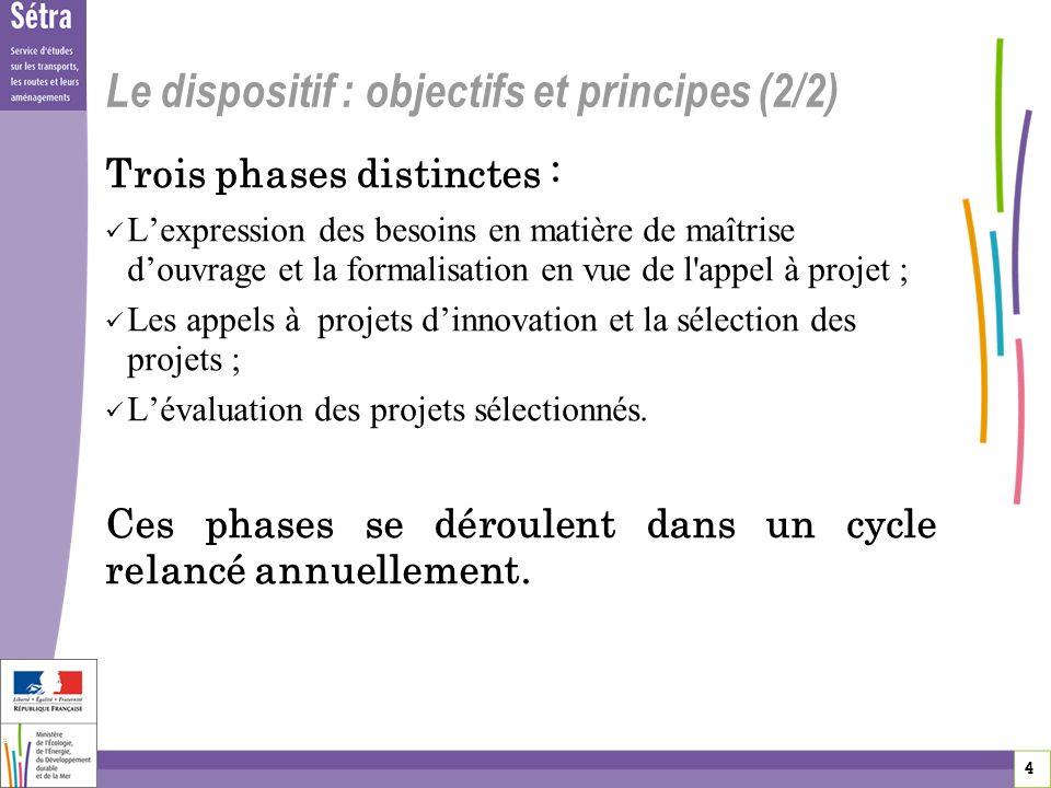 4 4 4 Le dispositif : objectifs et principes (2/2) Trois phases distinctes : Lexpression des besoins en matière de maîtrise douvrage et la formalisati