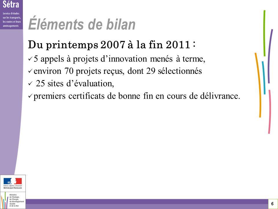 6 6 6 Éléments de bilan Du printemps 2007 à la fin 2011 : 5 appels à projets dinnovation menés à terme, environ 70 projets reçus, dont 29 sélectionnés