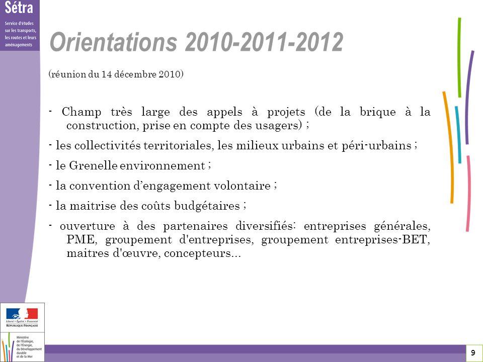 9 9 9 Orientations 2010-2011-2012 (réunion du 14 décembre 2010) - Champ très large des appels à projets (de la brique à la construction, prise en comp