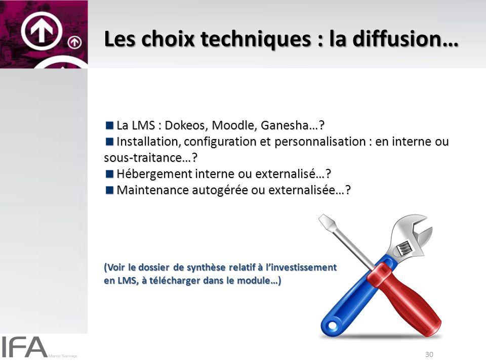 30 Les choix techniques : la diffusion… La LMS : Dokeos, Moodle, Ganesha….