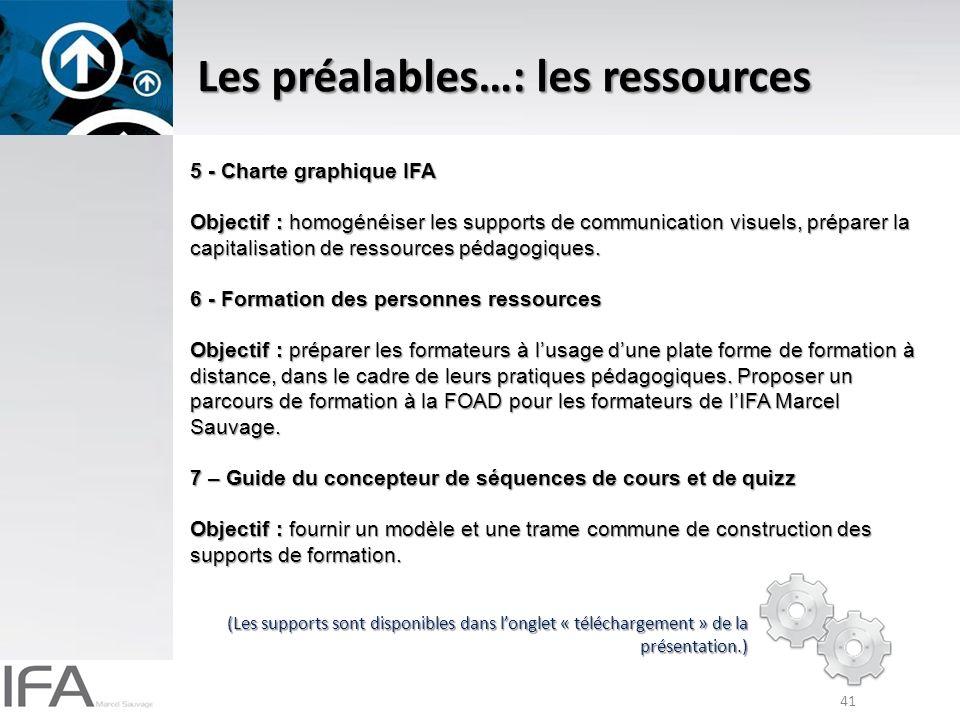 41 Les préalables…: les ressources 5 - Charte graphique IFA Objectif : homogénéiser les supports de communication visuels, préparer la capitalisation de ressources pédagogiques.