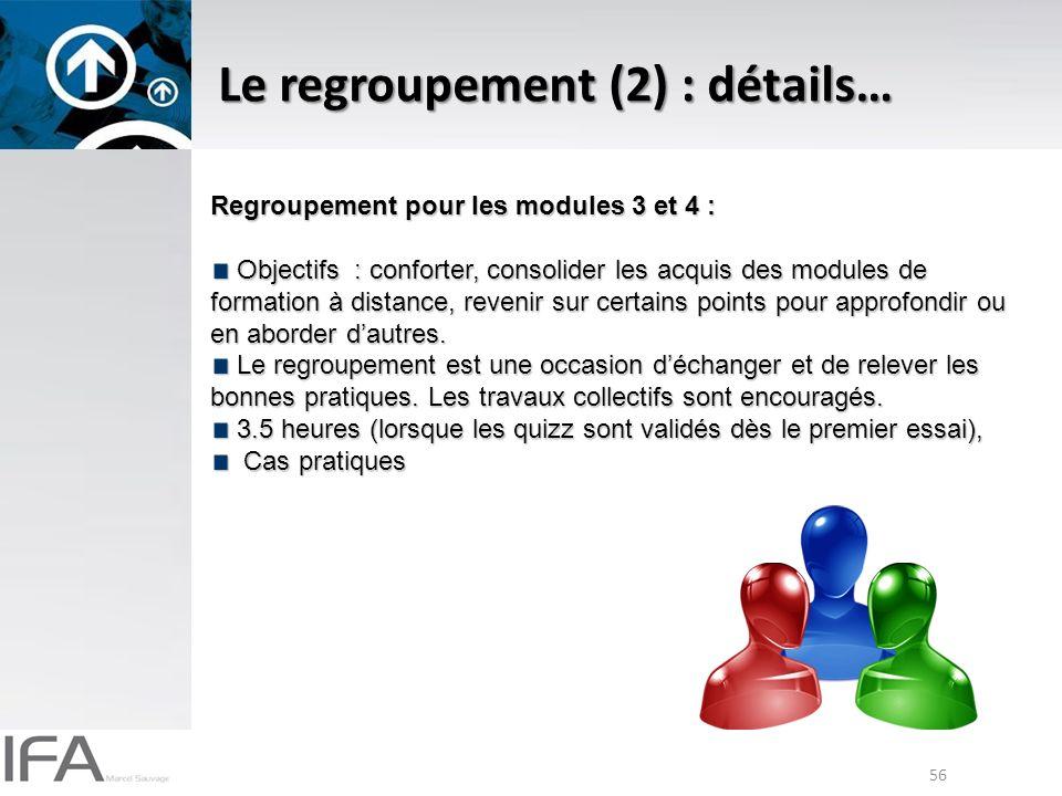56 Le regroupement (2) : détails… Regroupement pour les modules 3 et 4 : Objectifs : conforter, consolider les acquis des modules de formation à distance, revenir sur certains points pour approfondir ou en aborder dautres.