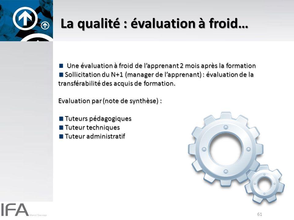 61 La qualité : évaluation à froid… Une évaluation à froid de lapprenant 2 mois après la formation Sollicitation du N+1 (manager de lapprenant) : évaluation de la transférabilité des acquis de formation.