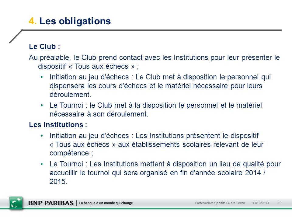 4. Les obligations Le Club : Au préalable, le Club prend contact avec les Institutions pour leur présenter le dispositif « Tous aux échecs » ; Initiat